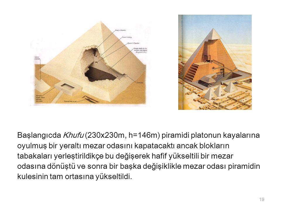 Başlangıcda Khufu (230x230m, h=146m) piramidi platonun kayalarına oyulmuş bir yeraltı mezar odasını kapatacaktı ancak blokların tabakaları yerleştiril