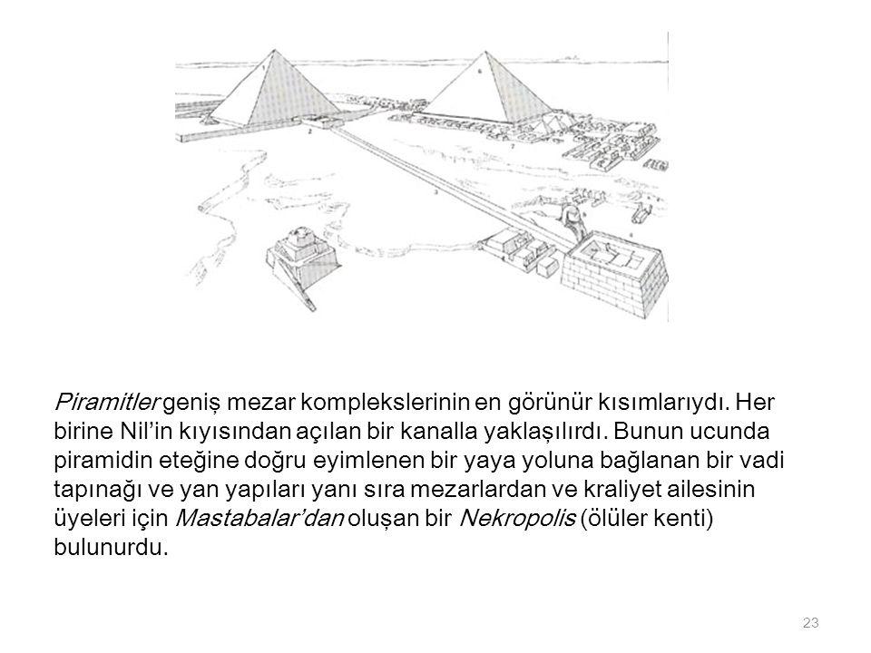 Piramitler geniş mezar komplekslerinin en görünür kısımlarıydı. Her birine Nil'in kıyısından açılan bir kanalla yaklaşılırdı. Bunun ucunda piramidin e