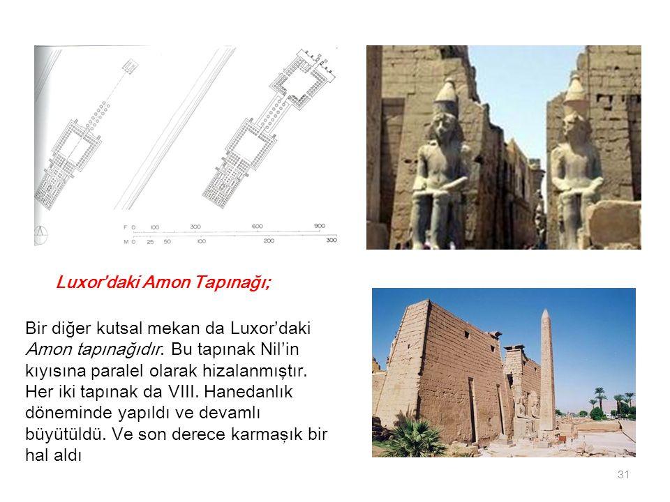 Luxor'daki Amon Tapınağı; Bir diğer kutsal mekan da Luxor'daki Amon tapınağıdır. Bu tapınak Nil'in kıyısına paralel olarak hizalanmıştır. Her iki tapı