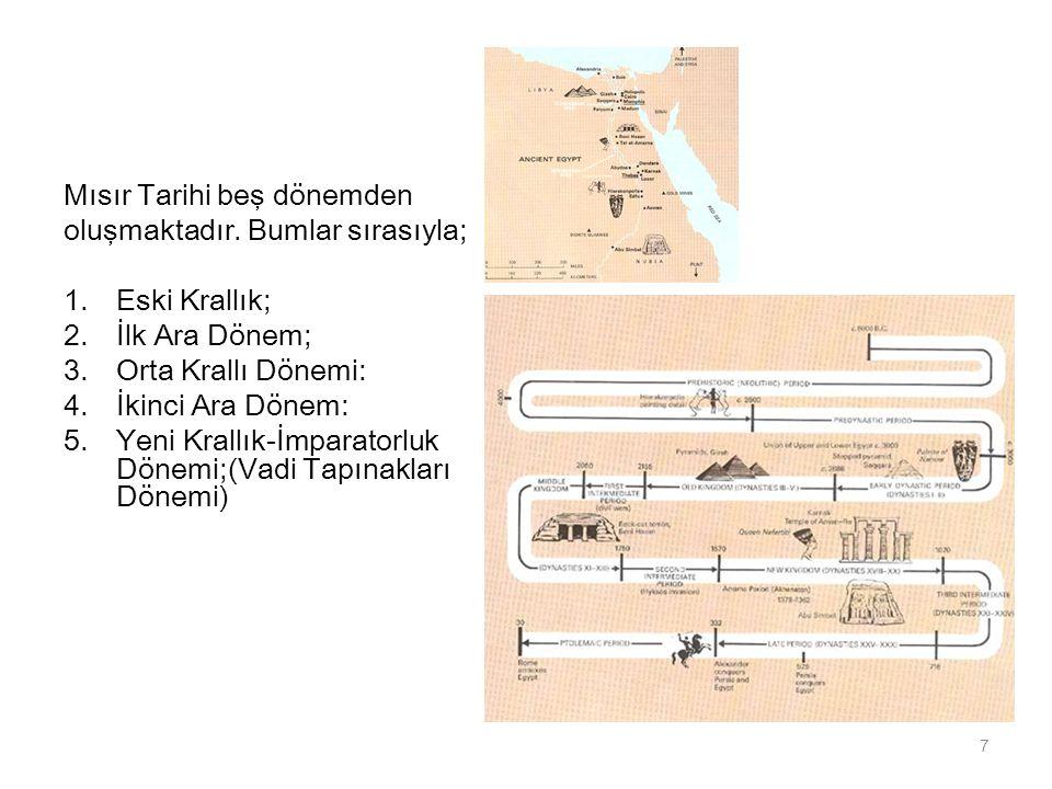 Mısır Tarihi beş dönemden oluşmaktadır. Bumlar sırasıyla; 1.Eski Krallık; 2.İlk Ara Dönem; 3.Orta Krallı Dönemi: 4.İkinci Ara Dönem: 5.Yeni Krallık-İm