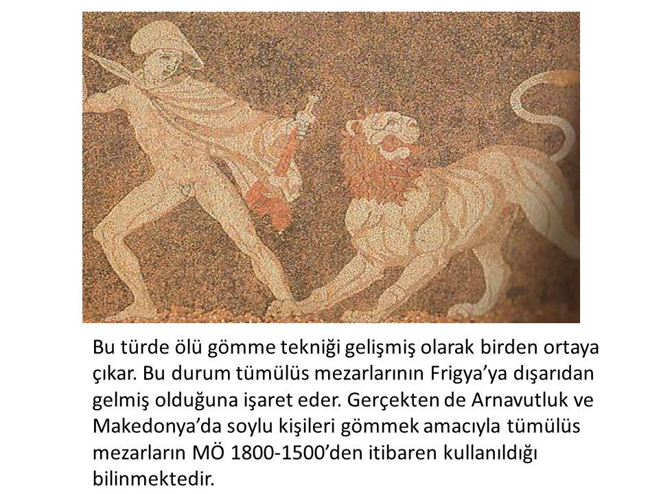 Bu türde ölü gömme tekniği gelişmiş olarak birden ortaya çıkar. Bu durum tümülüs mezarlarının Frigya'ya dışarıdan gelmiş olduğuna işaret eder. Gerçekt