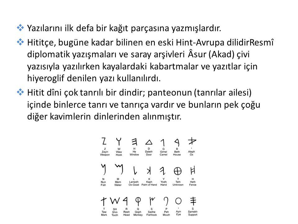  Yazılarını ilk defa bir kağıt parçasına yazmışlardır.  Hititçe, bugüne kadar bilinen en eski Hint-Avrupa dilidirResmî diplomatik yazışmaları ve sar