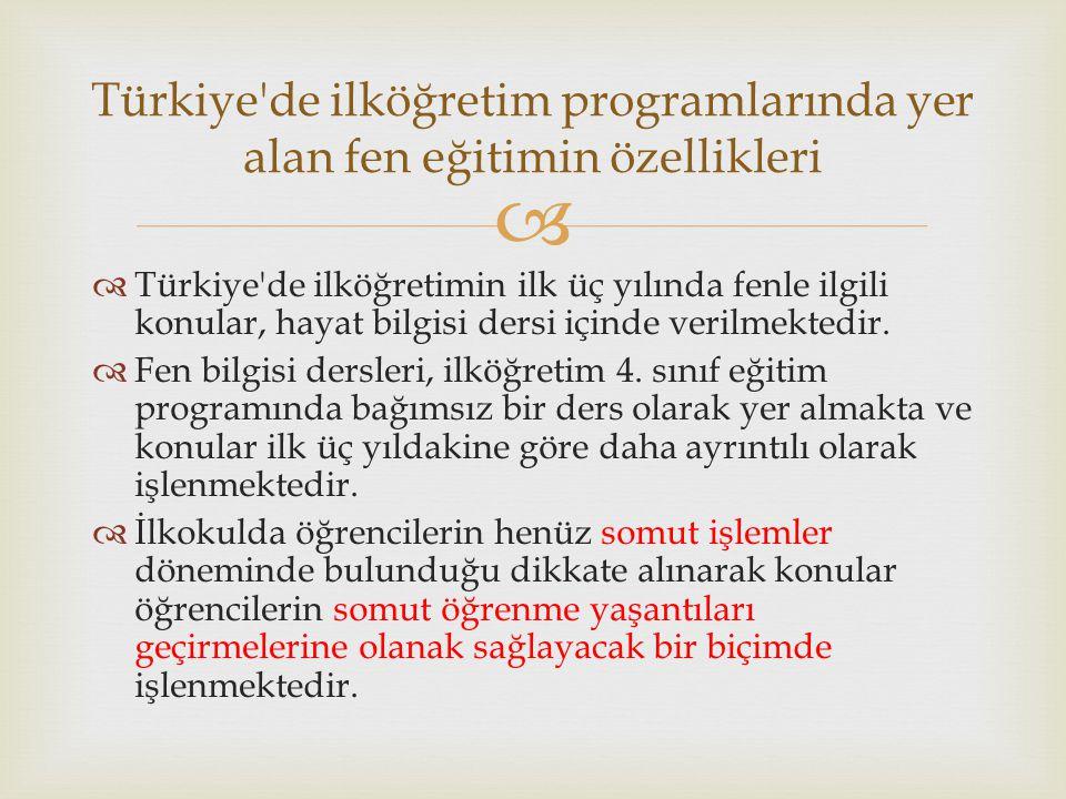   Türkiye'de ilköğretimin ilk üç yılında fenle ilgili konular, hayat bilgisi dersi içinde verilmektedir.  Fen bilgisi dersleri, ilköğretim 4. sınıf