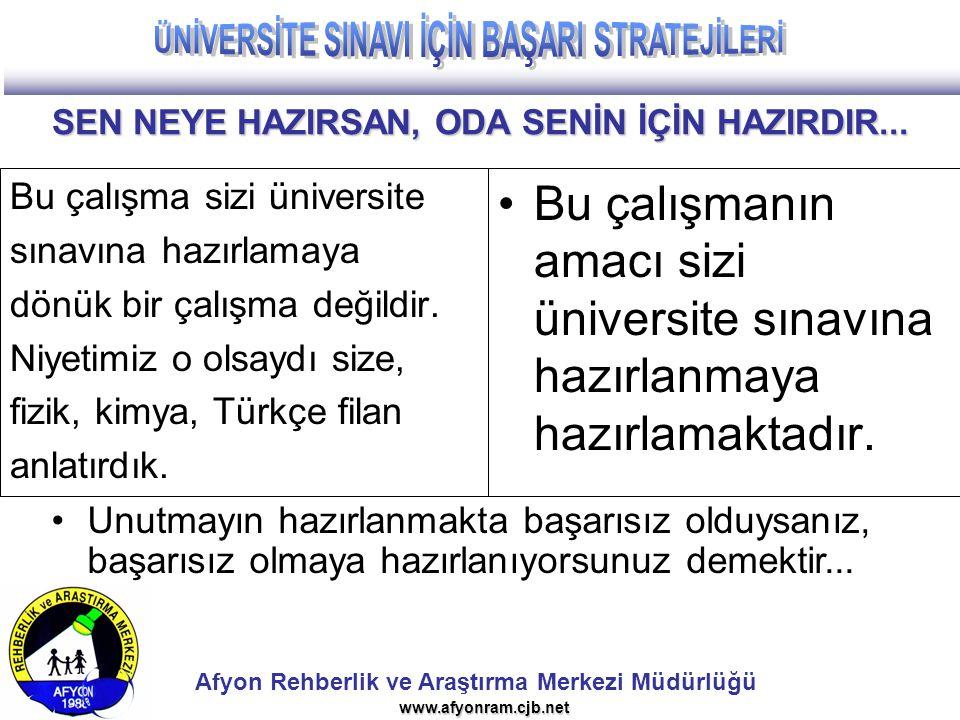 Afyon Rehberlik ve Araştırma Merkezi Müdürlüğü www.afyonram.cjb.net SEN NEYE HAZIRSAN, ODA SENİN İÇİN HAZIRDIR... Bu çalışma sizi üniversite sınavına