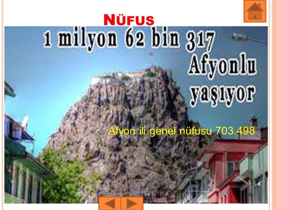 N ÜFUS 4 Afyon ili genel nüfusu 703.498