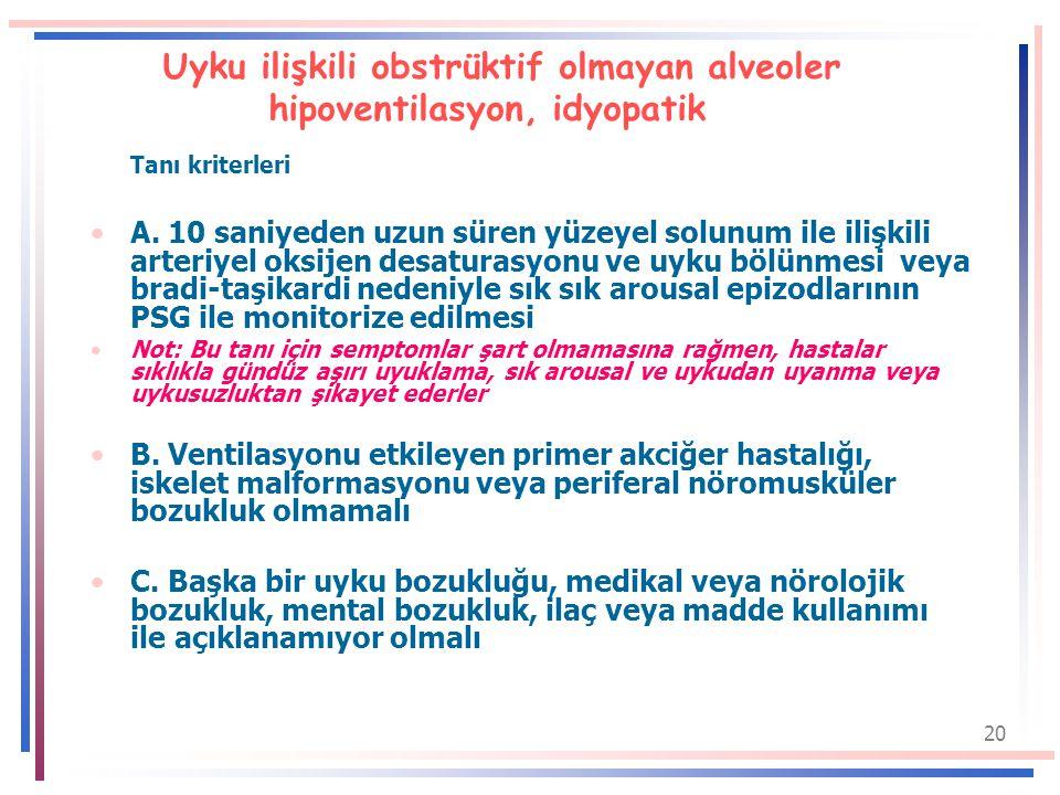 20 Uyku ilişkili obstrüktif olmayan alveoler hipoventilasyon, idyopatik Tanı kriterleri A.