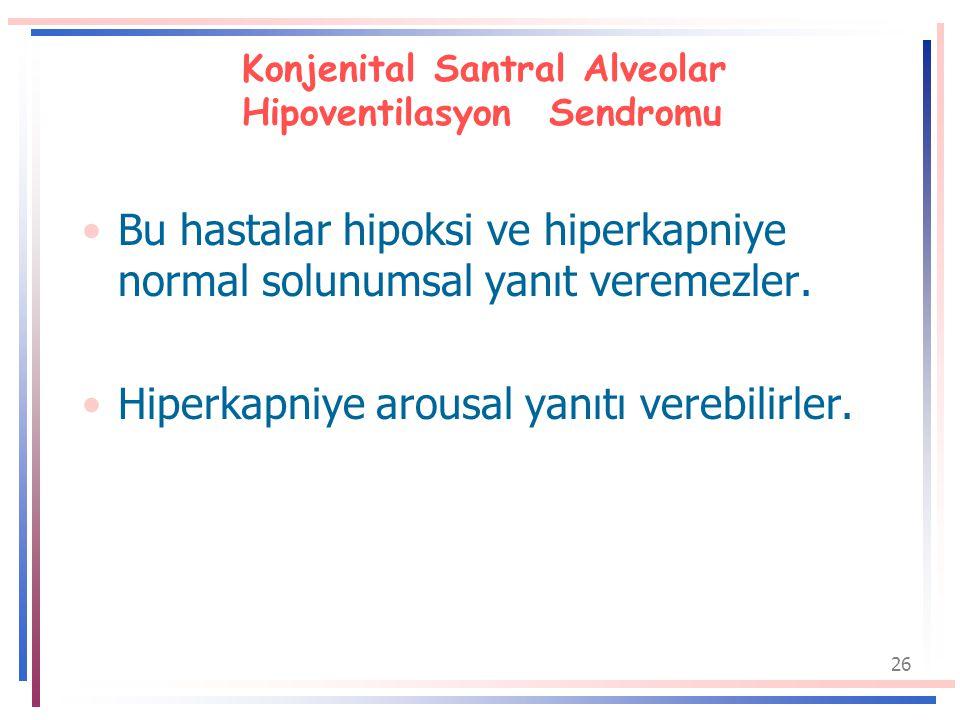 26 Konjenital Santral Alveolar Hipoventilasyon Sendromu Bu hastalar hipoksi ve hiperkapniye normal solunumsal yanıt veremezler.