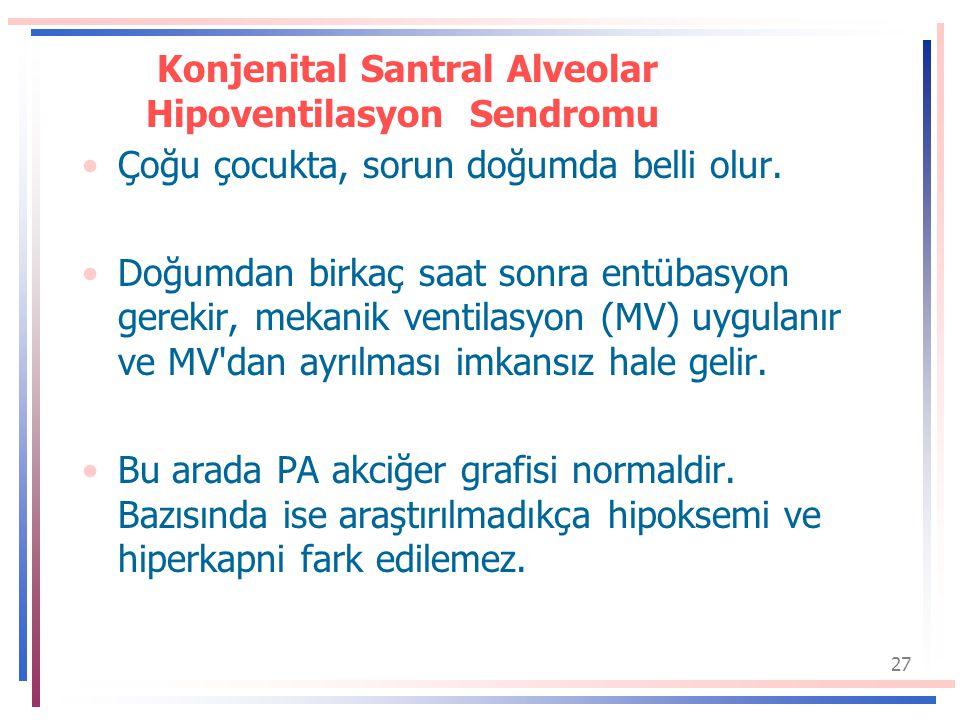 27 Konjenital Santral Alveolar Hipoventilasyon Sendromu Çoğu çocukta, sorun doğumda belli olur.