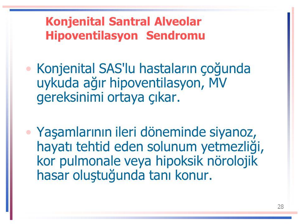 28 Konjenital Santral Alveolar Hipoventilasyon Sendromu Konjenital SAS lu hastaların çoğunda uykuda ağır hipoventilasyon, MV gereksinimi ortaya çıkar.