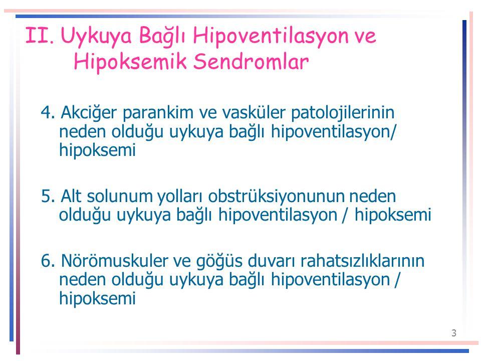 3 II.Uykuya Bağlı Hipoventilasyon ve Hipoksemik Sendromlar 4.