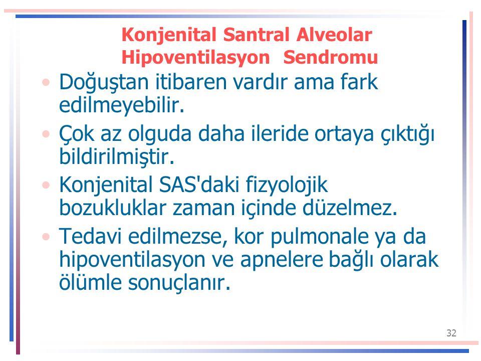 32 Konjenital Santral Alveolar Hipoventilasyon Sendromu Doğuştan itibaren vardır ama fark edilmeyebilir.