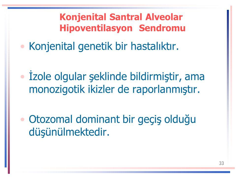 33 Konjenital Santral Alveolar Hipoventilasyon Sendromu Konjenital genetik bir hastalıktır.