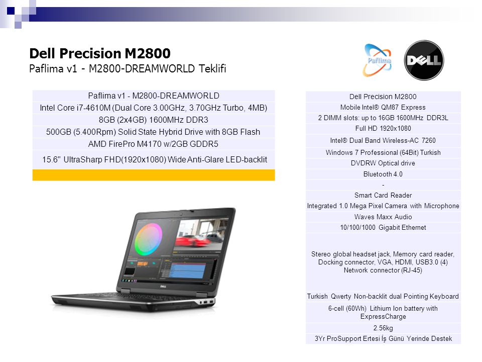 Dell Precision M2800 Paflima v1 - M2800-DREAMWORLD Teklifi Dell Precision M2800 Mobile Intel® QM87 Express 2 DIMM slots: up to 16GB 1600MHz DDR3L Full HD 1920x1080 Intel® Dual Band Wireless-AC 7260 Windows 7 Professional (64Bit) Turkish DVDRW Optical drive Bluetooth 4.0 - Smart Card Reader Integrated 1.0 Mega Pixel Camera with Microphone Waves Maxx Audio 10/100/1000 Gigabit Ethernet Stereo global headset jack, Memory card reader, Docking connector, VGA, HDMI, USB3.0 (4) Network connector (RJ-45) Turkish Qwerty Non-backlit dual Pointing Keyboard 6-cell (60Wh) Lithium Ion battery with ExpressCharge 2.56kg 3Yr ProSupport Ertesi İş Günü Yerinde Destek Paflima v1 - M2800-DREAMWORLD Intel Core i7-4610M (Dual Core 3.00GHz, 3.70GHz Turbo, 4MB) 8GB (2x4GB) 1600MHz DDR3 500GB (5.400Rpm) Solid State Hybrid Drive with 8GB Flash AMD FirePro M4170 w/2GB GDDR5 15.6 UltraSharp FHD(1920x1080) Wide Anti-Glare LED-backlit