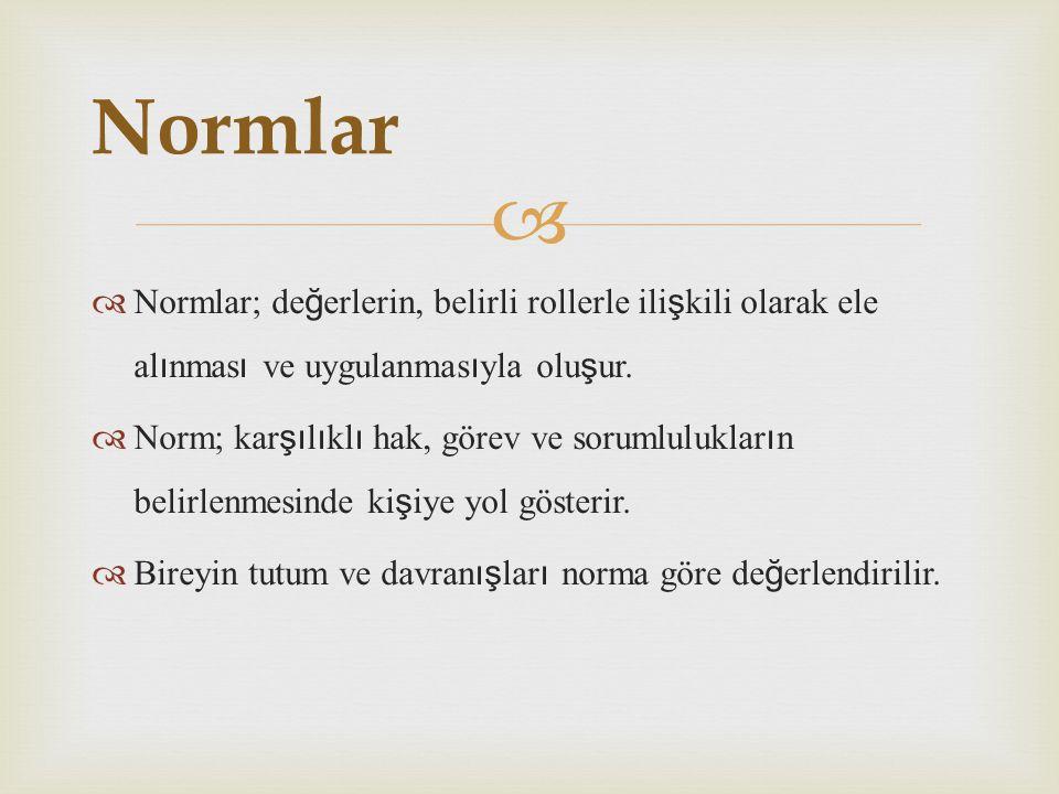   Normlar; de ğ erlerin, belirli rollerle ili ş kili olarak ele al ı nmas ı ve uygulanmas ı yla olu ş ur.