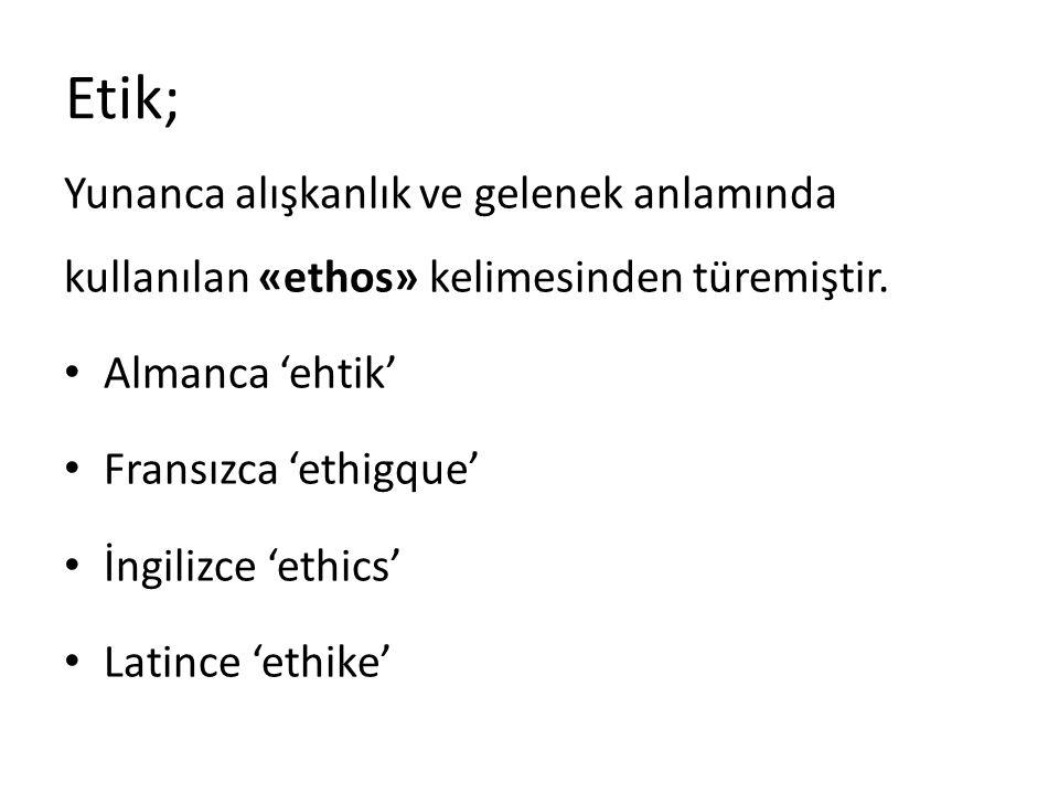 Etik; Yunanca alışkanlık ve gelenek anlamında kullanılan «ethos» kelimesinden türemiştir. Almanca 'ehtik' Fransızca 'ethigque' İngilizce 'ethics' Lati