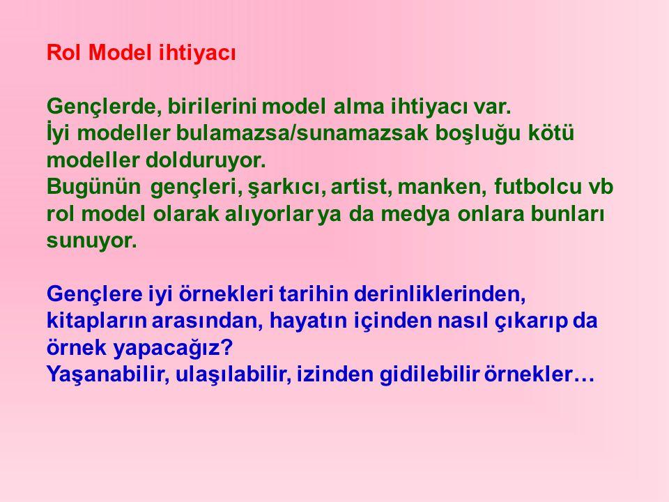 Rol Model ihtiyacı Gençlerde, birilerini model alma ihtiyacı var. İyi modeller bulamazsa/sunamazsak boşluğu kötü modeller dolduruyor. Bugünün gençleri