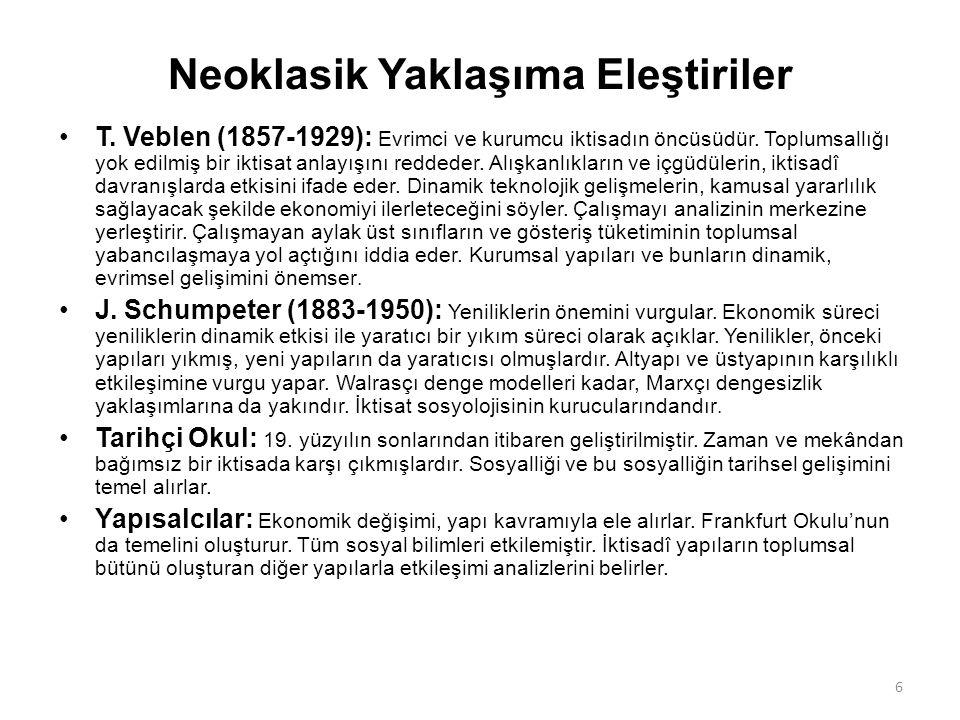 Neoklasik Yaklaşıma Eleştiriler T. Veblen (1857-1929): Evrimci ve kurumcu iktisadın öncüsüdür. Toplumsallığı yok edilmiş bir iktisat anlayışını redded