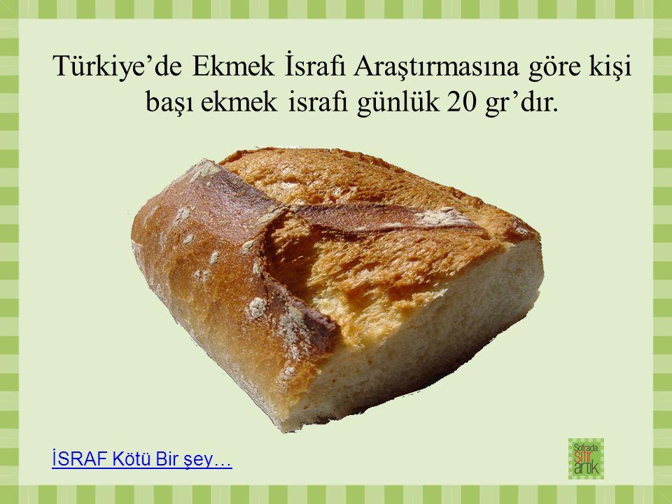 Türkiye'de Ekmek İsrafı Araştırmasına göre kişi başı ekmek israfı günlük 20 gr'dır. İSRAF Kötü Bir şey…