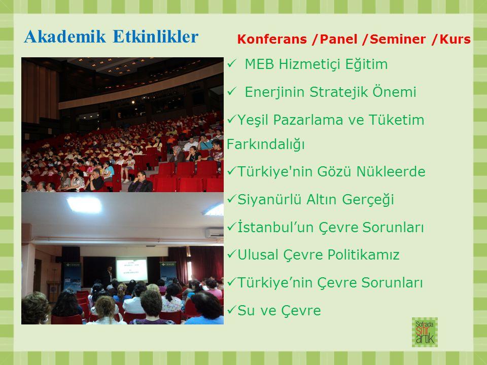 Akademik Etkinlikler Konferans /Panel /Seminer /Kurs MEB Hizmetiçi Eğitim Enerjinin Stratejik Önemi Yeşil Pazarlama ve Tüketim Farkındalığı Türkiye'ni