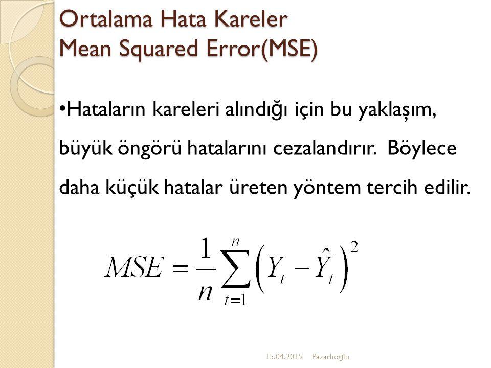 Ortalama Hata Kareler Mean Squared Error(MSE) 15.04.2015Pazarlıo ğ lu Hataların kareleri alındı ğ ı için bu yaklaşım, büyük öngörü hatalarını cezalandırır.