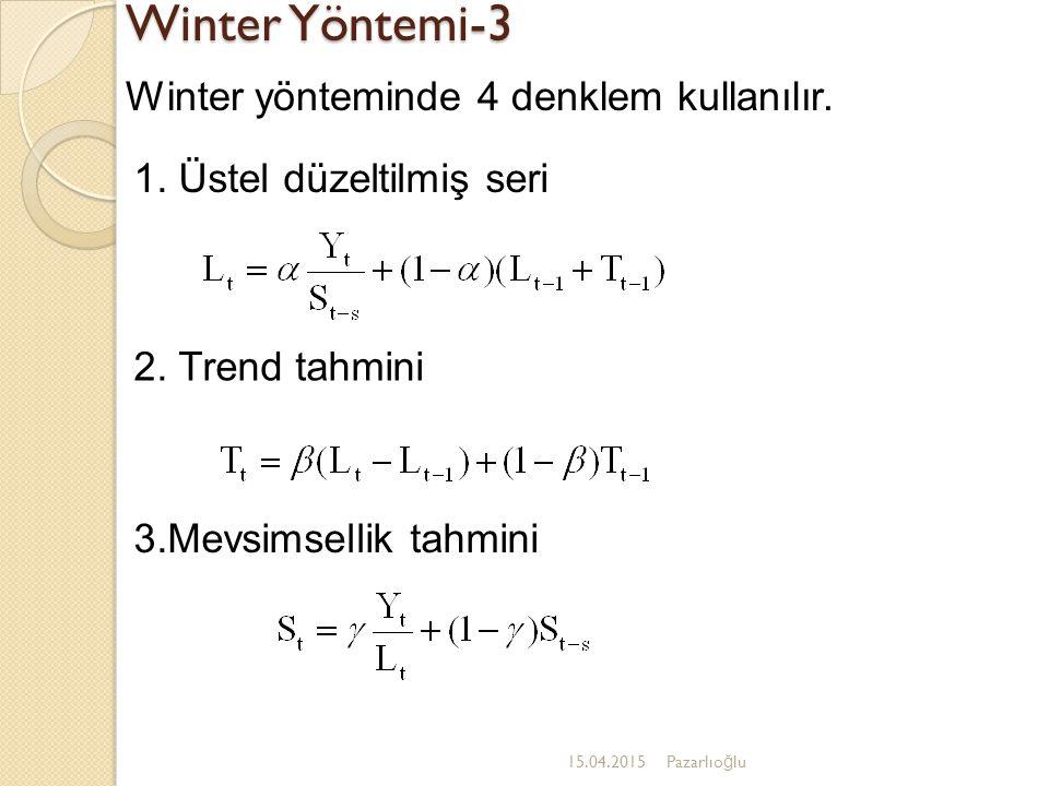 Winter Yöntemi-3 15.04.2015Pazarlıo ğ lu Winter yönteminde 4 denklem kullanılır. 3.Mevsimsellik tahmini 2. Trend tahmini 1. Üstel düzeltilmiş seri
