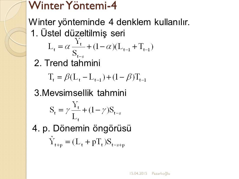 Winter Yöntemi-4 15.04.2015Pazarlıo ğ lu Winter yönteminde 4 denklem kullanılır. 4. p. Dönemin öngörüsü 3.Mevsimsellik tahmini 2. Trend tahmini 1. Üst