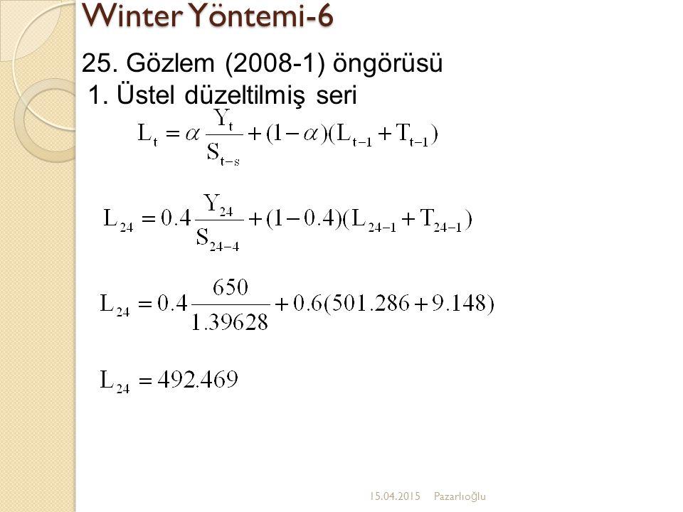 Winter Yöntemi-6 15.04.2015Pazarlıo ğ lu 25. Gözlem (2008-1) öngörüsü 1. Üstel düzeltilmiş seri
