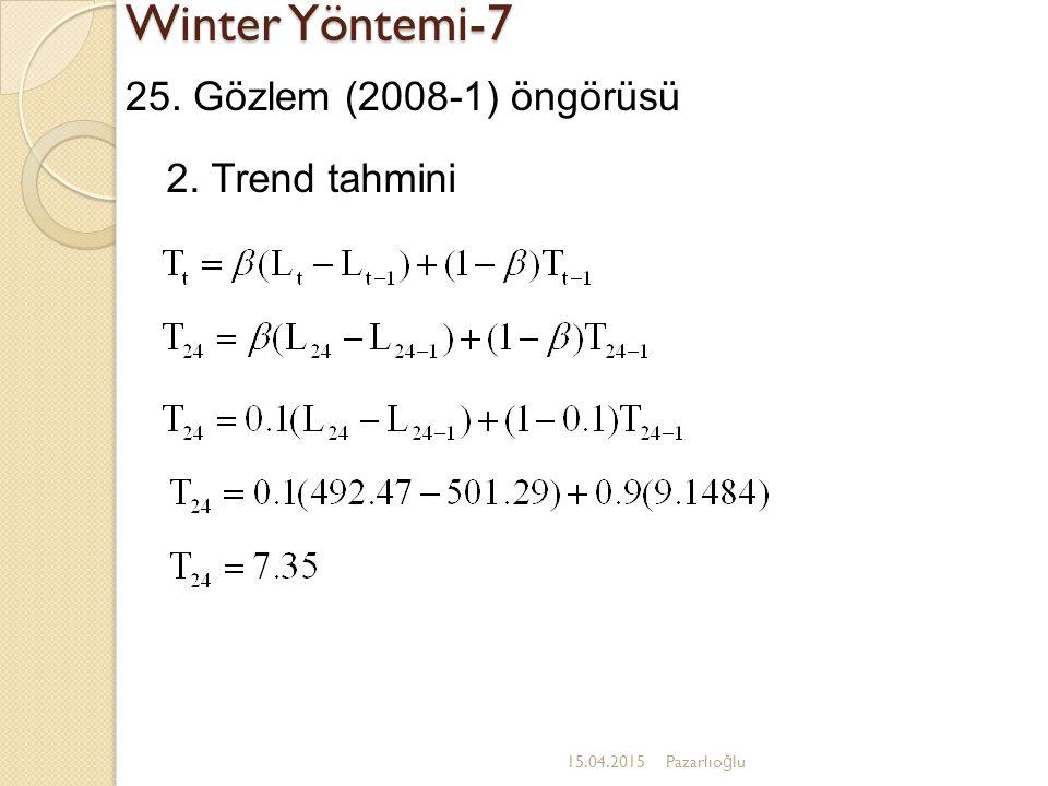 Winter Yöntemi-7 15.04.2015Pazarlıo ğ lu 25. Gözlem (2008-1) öngörüsü 2. Trend tahmini