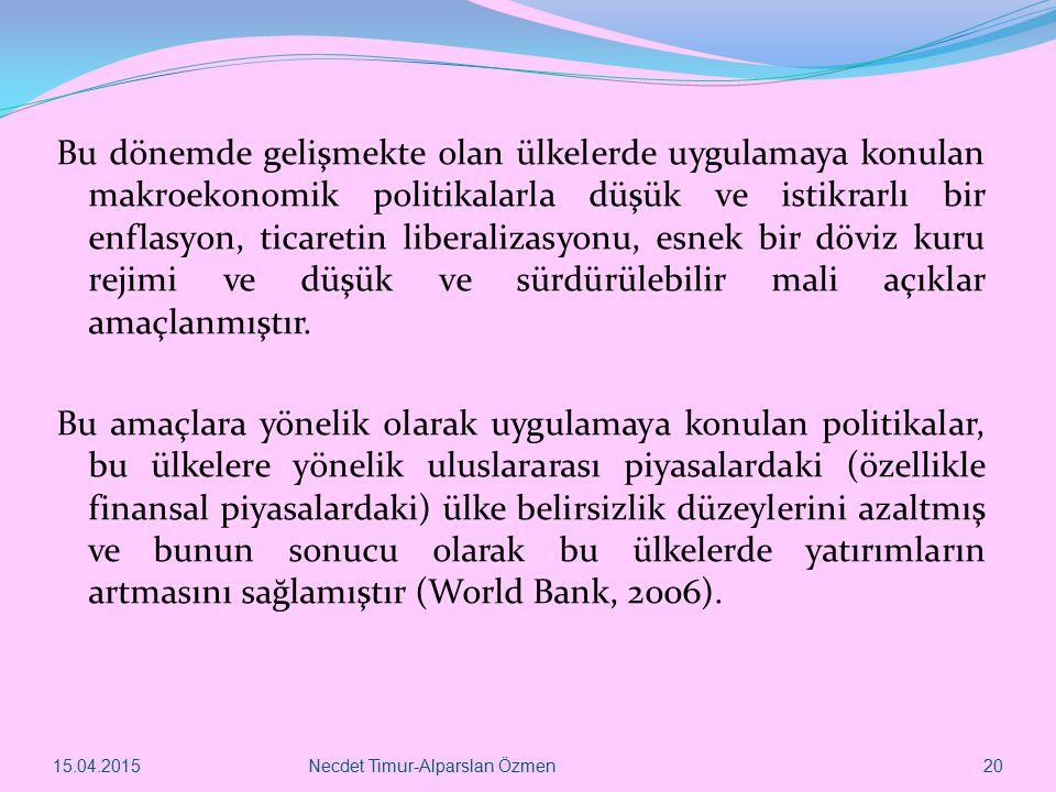 15.04.2015Necdet Timur-Alparslan Özmen 20 Bu dönemde gelişmekte olan ülkelerde uygulamaya konulan makroekonomik politikalarla düşük ve istikrarlı bir