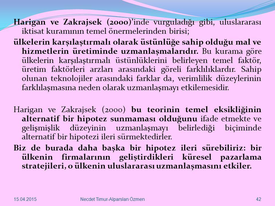 15.04.2015Necdet Timur-Alparslan Özmen 42 Harigan ve Zakrajsek (2000)'inde vurguladığı gibi, uluslararası iktisat kuramının temel önermelerinden biris
