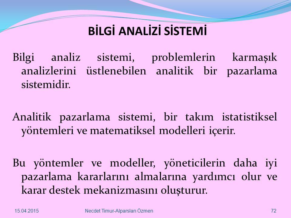 BİLGİ ANALİZİ SİSTEMİ Bilgi analiz sistemi, problemlerin karmaşık analizlerini üstlenebilen analitik bir pazarlama sistemidir. Analitik pazarlama sist