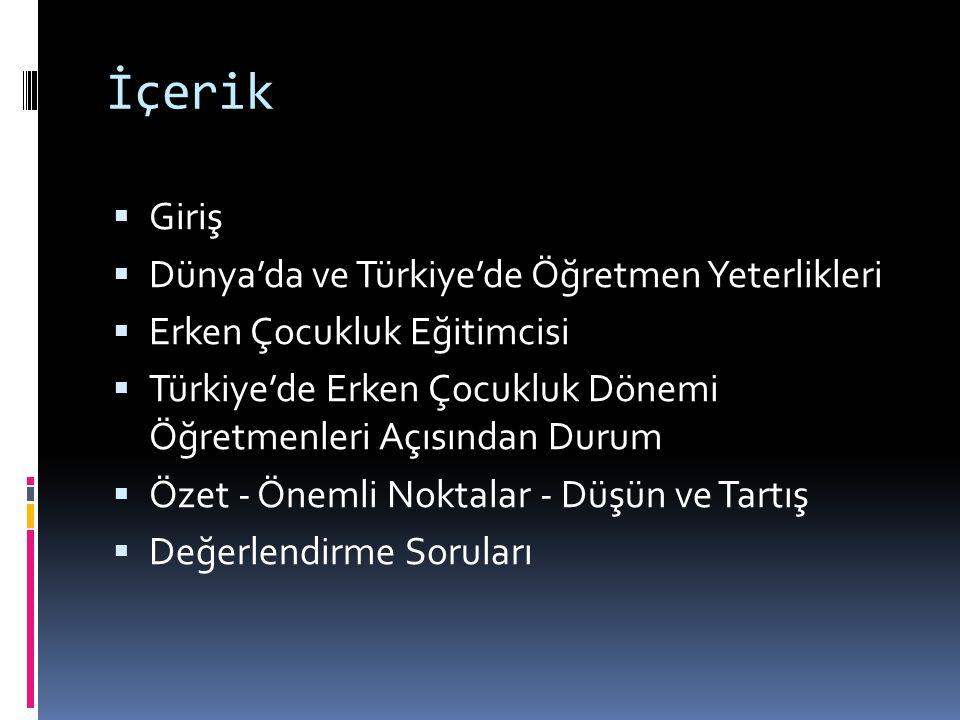 Öğrenme Çıktıları  Öğretmen standartları, yeterlilikleri ve özellikleri arasındaki farkı açıklar  Öğretmen yeterliliklerine ilişkin dünyadaki ve Türkiye deki gelişmeleri anlatır  Erken çocukluk dönemi eğitimcisinin yeterliliklerini sıralar  Erken çocukluk dönemi eğitimcisinin diğer eğitimcilerden farkını açıklar  Türkiye de erken çocukluk dönemi eğitimi ve eğitimcisine ilişkin gelişmeleri anlatır