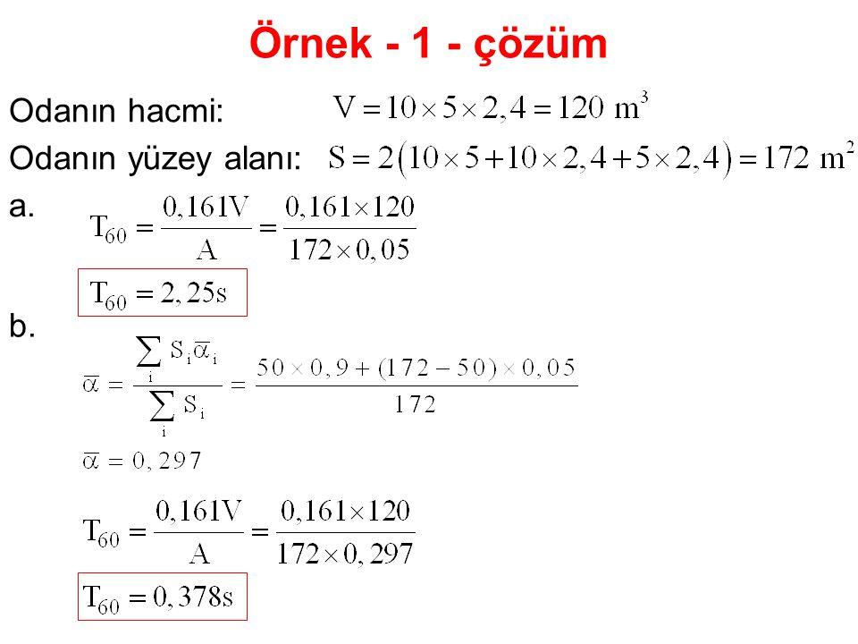 Örnek - 1 - çözüm Odanın hacmi: Odanın yüzey alanı: a. b.