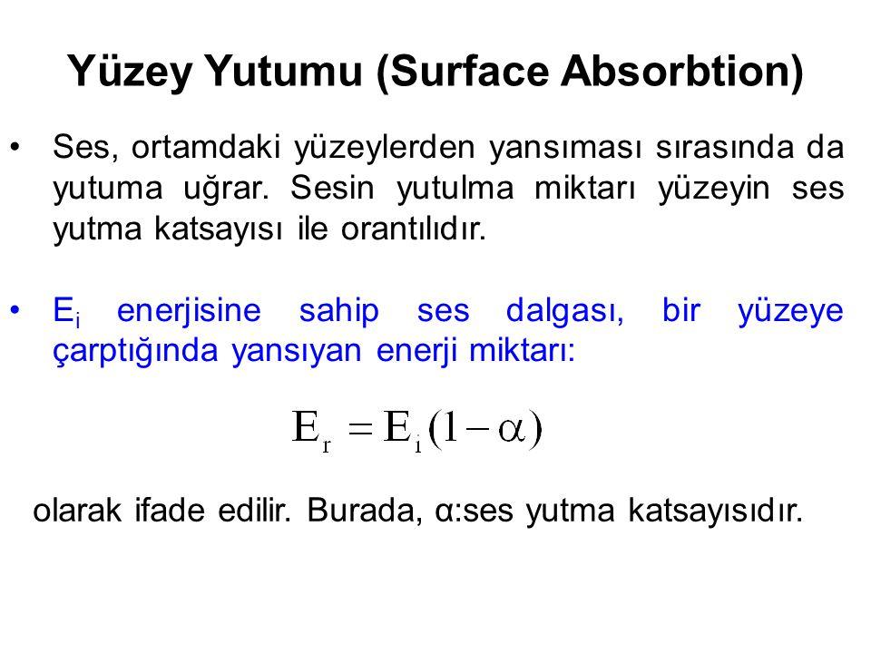 Yüzey Yutumu (Surface Absorbtion) Ses, ortamdaki yüzeylerden yansıması sırasında da yutuma uğrar. Sesin yutulma miktarı yüzeyin ses yutma katsayısı il