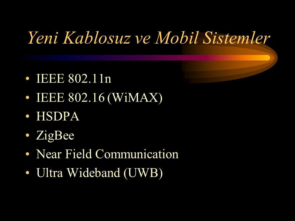 Yeni Kablosuz ve Mobil Sistemler IEEE 802.11n IEEE 802.16 (WiMAX) HSDPA ZigBee Near Field Communication Ultra Wideband (UWB)