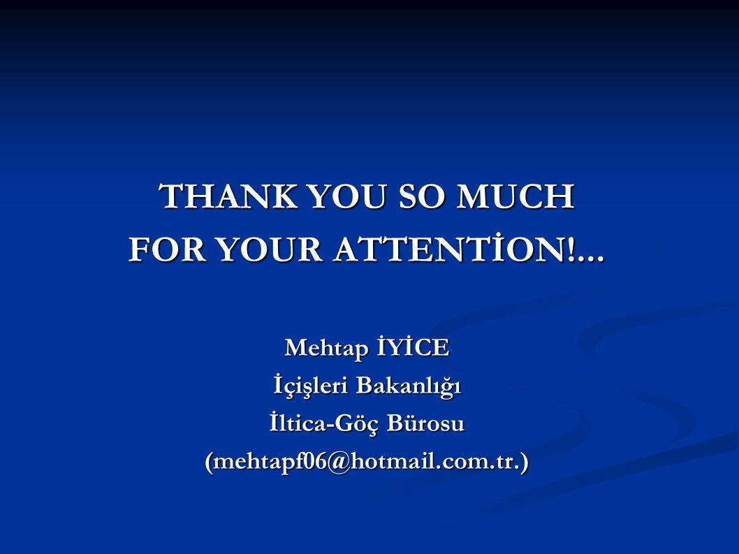THANK YOU SO MUCH FOR YOUR ATTENTİON!... Mehtap İYİCE İçişleri Bakanlığı İltica-Göç Bürosu (mehtapf06@hotmail.com.tr.)