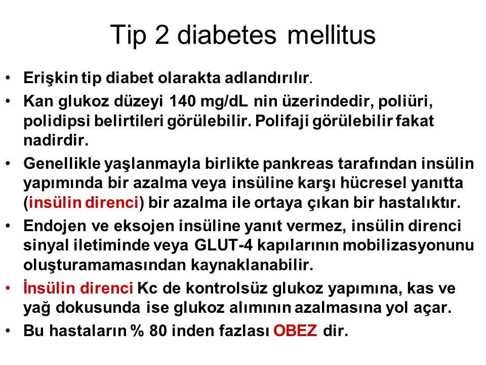 Tip 2 diabetes mellitus Erişkin tip diabet olarakta adlandırılır. Kan glukoz düzeyi 140 mg/dL nin üzerindedir, poliüri, polidipsi belirtileri görülebi