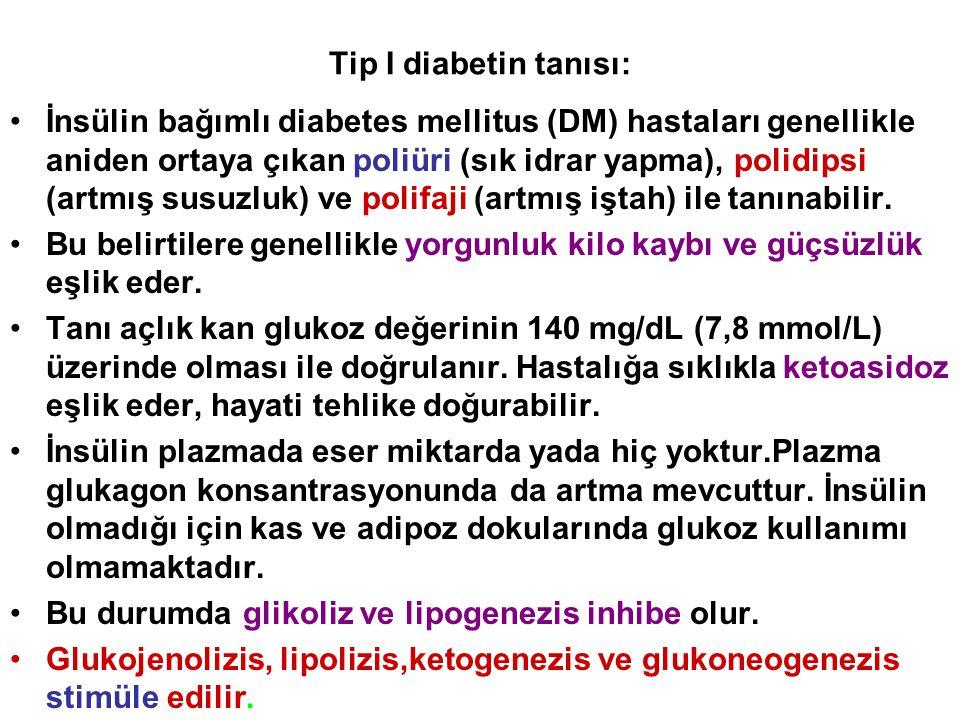 Tip I diabetin tanısı: İnsülin bağımlı diabetes mellitus (DM) hastaları genellikle aniden ortaya çıkan poliüri (sık idrar yapma), polidipsi (artmış su