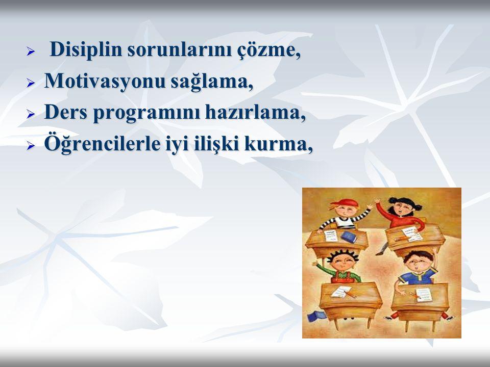  Disiplin sorunlarını çözme,  Motivasyonu sağlama,  Ders programını hazırlama,  Öğrencilerle iyi ilişki kurma,
