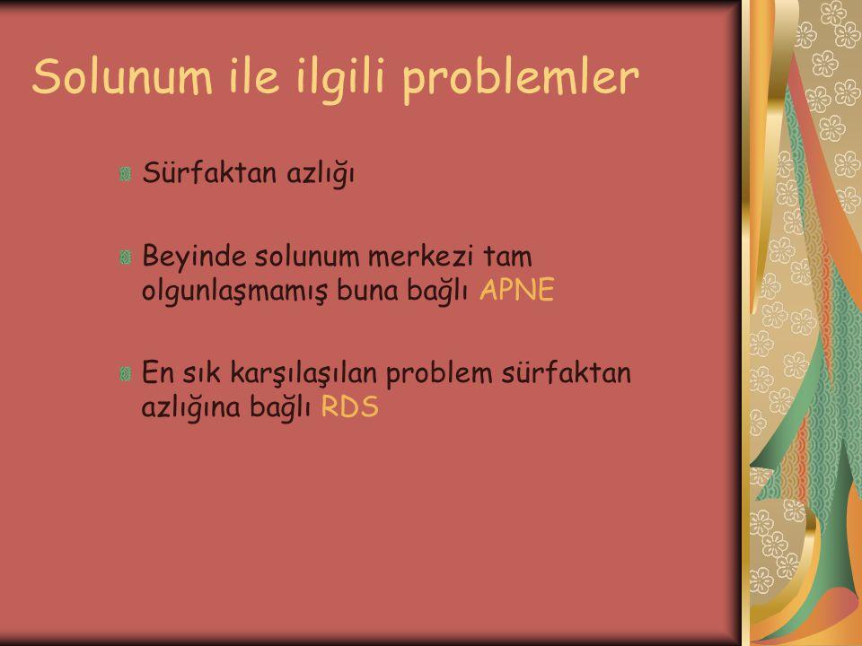 Solunum ile ilgili problemler Sürfaktan azlığı Beyinde solunum merkezi tam olgunlaşmamış buna bağlı APNE En sık karşılaşılan problem sürfaktan azlığın