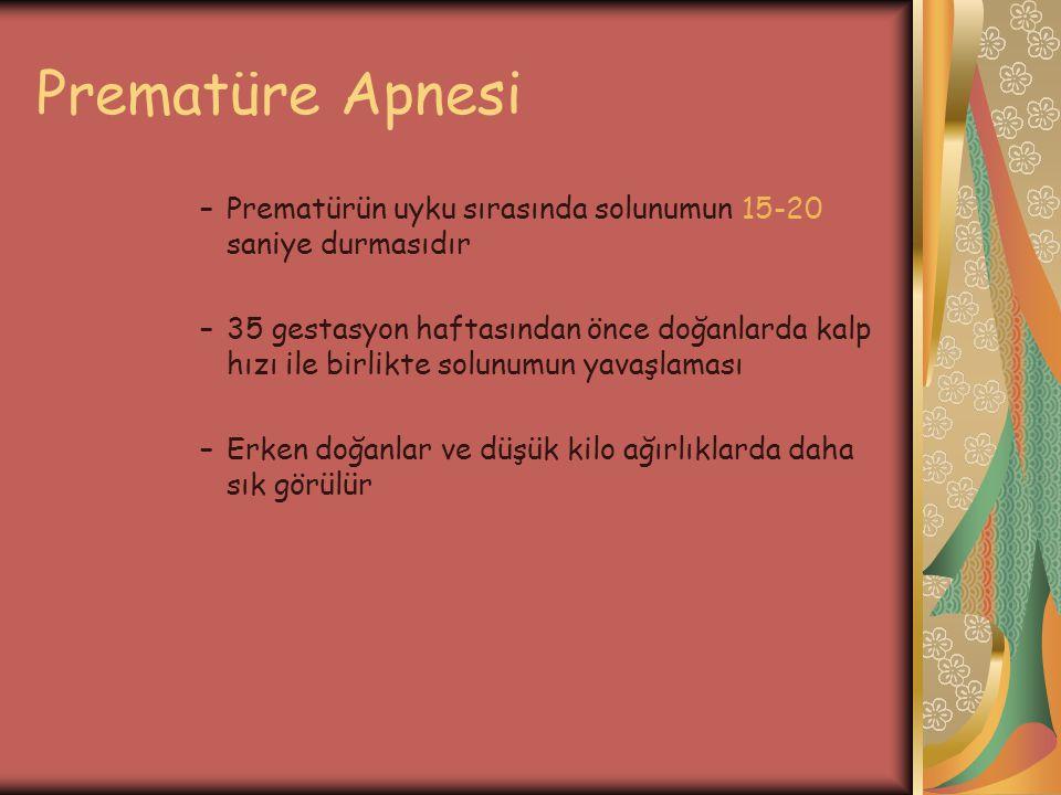 Prematüre Apnesi –Prematürün uyku sırasında solunumun 15-20 saniye durmasıdır –35 gestasyon haftasından önce doğanlarda kalp hızı ile birlikte solunum