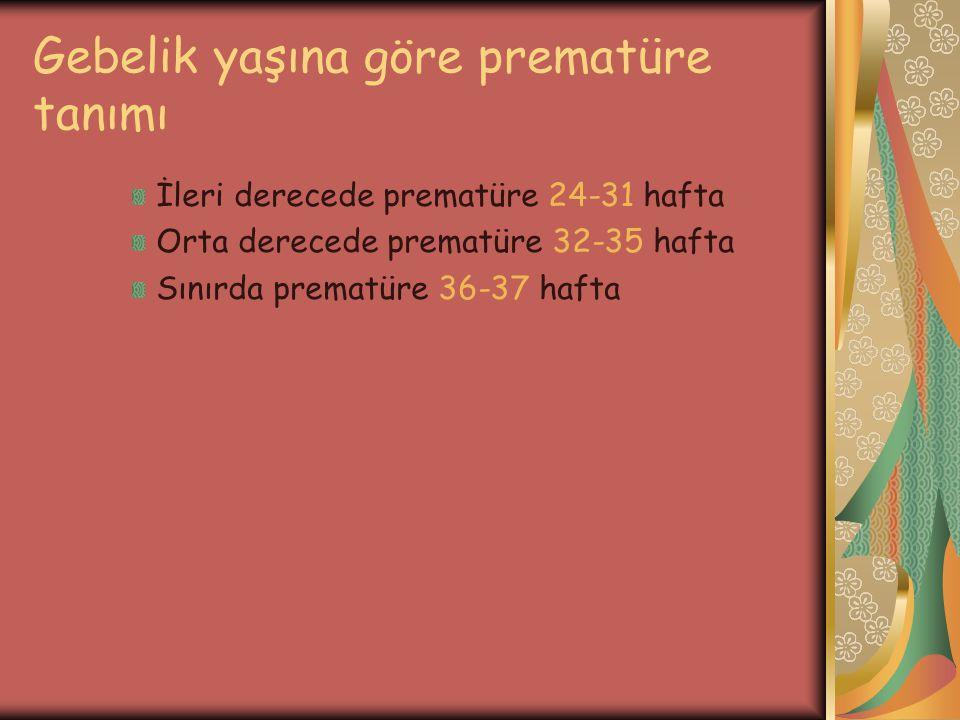 Gebelik yaşına göre prematüre tanımı İleri derecede prematüre 24-31 hafta Orta derecede prematüre 32-35 hafta Sınırda prematüre 36-37 hafta