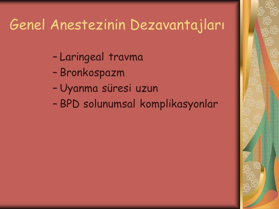Genel Anestezinin Dezavantajları –Laringeal travma –Bronkospazm –Uyanma süresi uzun –BPD solunumsal komplikasyonlar