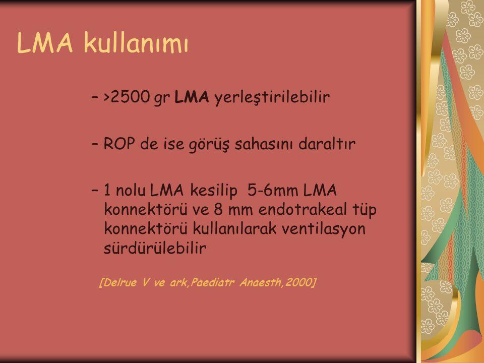 LMA kullanımı –>2500 gr LMA yerleştirilebilir –ROP de ise görüş sahasını daraltır –1 nolu LMA kesilip 5-6mm LMA konnektörü ve 8 mm endotrakeal tüp kon