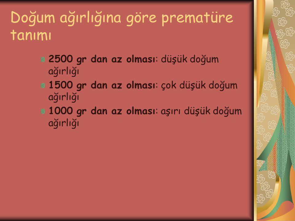 Doğum ağırlığına göre prematüre tanımı 2500 gr dan az olması: düşük doğum ağırlığı 1500 gr dan az olması: çok düşük doğum ağırlığı 1000 gr dan az olma