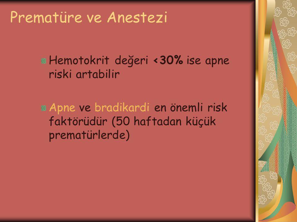 Prematüre ve Anestezi Hemotokrit değeri <30% ise apne riski artabilir Apne ve bradikardi en önemli risk faktörüdür (50 haftadan küçük prematürlerde)