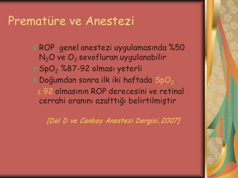 Prematüre ve Anestezi ROP genel anestezi uygulamasında %50 N 2 O ve O 2 sevofluran uygulanabilir SpO 2 %87-92 olması yeterli Doğumdan sonra ilk iki ha