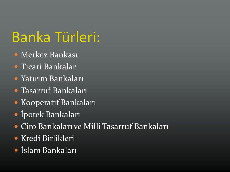 Banka Türleri: Merkez Bankası Ticari Bankalar Yatırım Bankaları Tasarruf Bankaları Kooperatif Bankaları İpotek Bankaları Ciro Bankaları ve Milli Tasarruf Bankaları Kredi Birlikleri İslam Bankaları