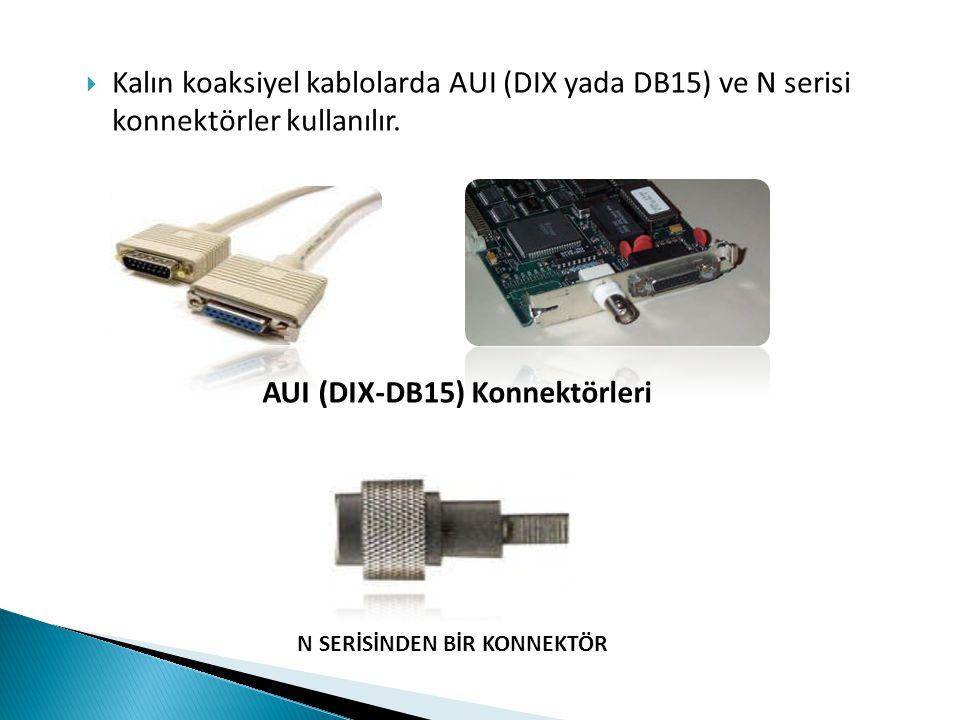  Kalın koaksiyel kablolarda AUI (DIX yada DB15) ve N serisi konnektörler kullanılır. AUI (DIX-DB15) Konnektörleri N SERİSİNDEN BİR KONNEKTÖR