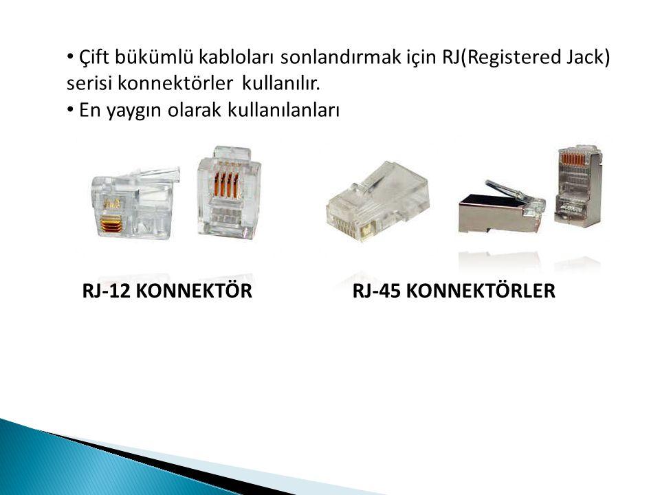 Çift bükümlü kabloları sonlandırmak için RJ(Registered Jack) serisi konnektörler kullanılır. En yaygın olarak kullanılanları RJ-12 KONNEKTÖRRJ-45 KONN